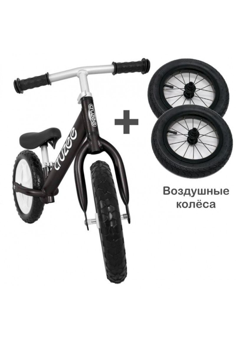 Cruzee UltraLite Balance Bike (Black) + Air Wheels Kenda